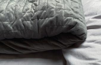 weighted blanket in bedroom
