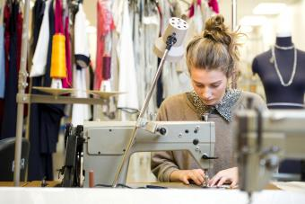 Working with a sewing machine