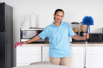 Woman Cleaning a Room using a Cobweb Duster