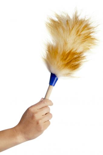 Man holding a lambswool duster
