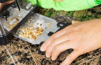 Removing bread crumbs from tray