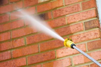 power washing exterior brick wall