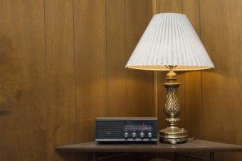 pleated lamp shade in corner