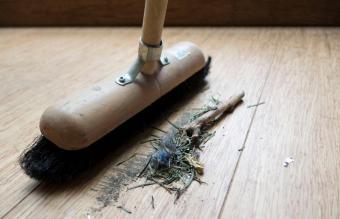 Sweeping bamboo floor