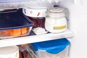 Baking soda placed in refrigerator to deodorize bad odor