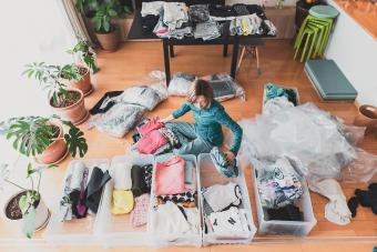 Woman organizes clothes