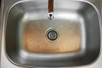Sink with hard water stains