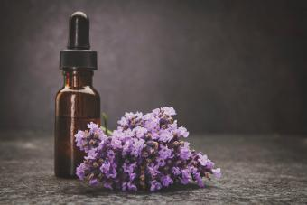 A bottle of lavender essential oil