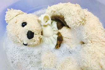 hand wash teddy bear stuffed animal in sink