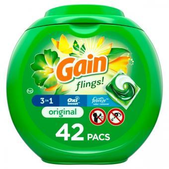 Gain Flings Original Scent, 42 Ct Laundry Detergent Pacs