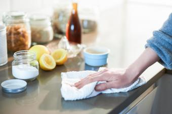 Cleaning kitchen with natural cleaning products