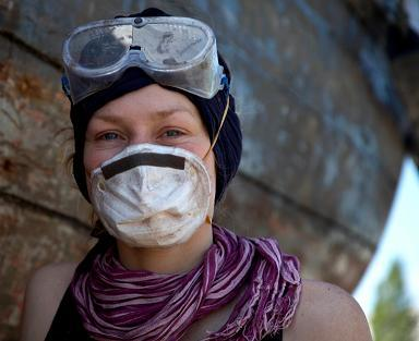 Woman in Safety Gear