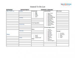 general to-do list printable