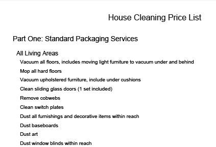 click to download a house cleaning price list