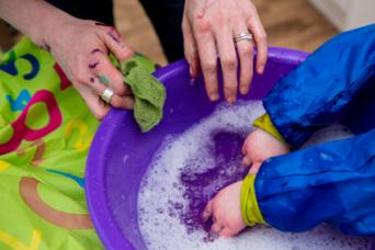 Washing paint from hands