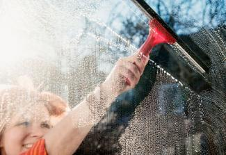 Cleaning window with squeechee