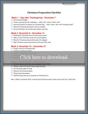 Christmas Preparation Guide Printable