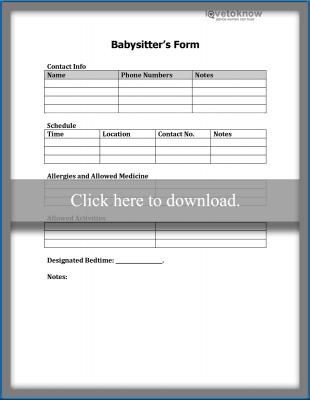 Babysitter's Form printable