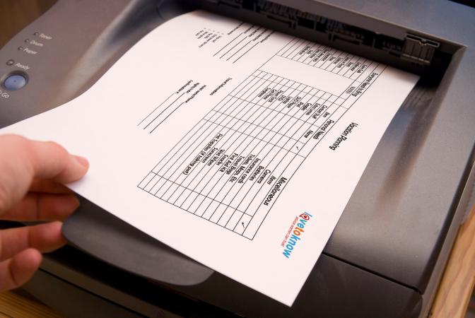 Grabbing LoveToKnow checklist off printer