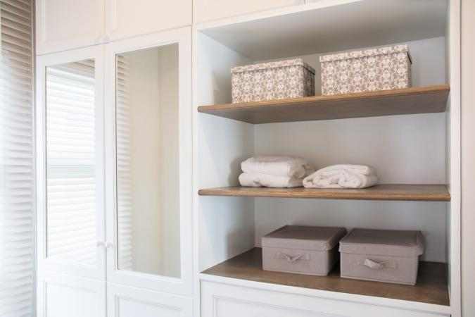 closet with storage containers