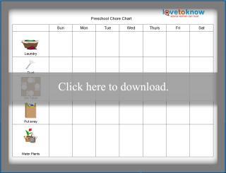 Preschooler Weekly Picture Chore Chart