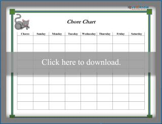 Gray Cat Weekly Chore Chart