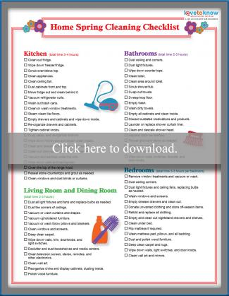 graphic about Spring Cleaning Checklist Printable titled Printable Spring Cleansing Listing LoveToKnow