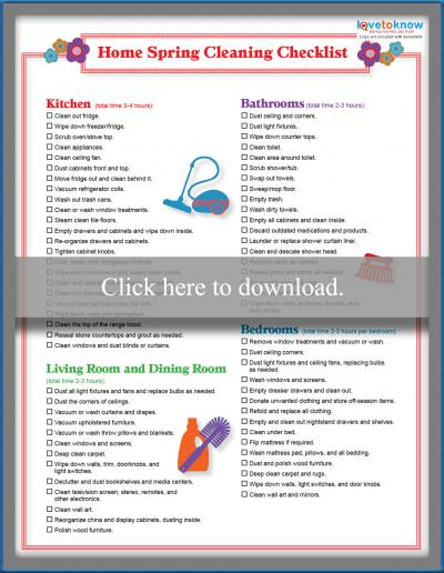 spring cleaning checklist printable pdf
