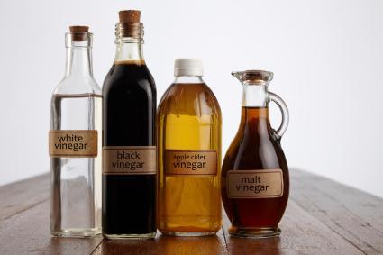 Assortment of vinegars in bottles