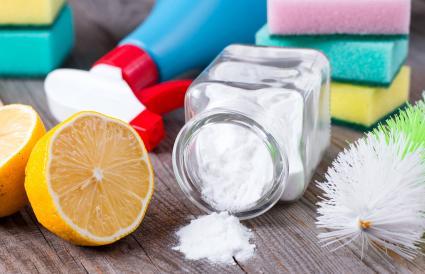 Baking soda, salt, lemon and cloth