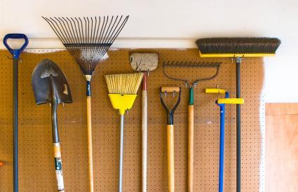 Garden Tools stored in garage