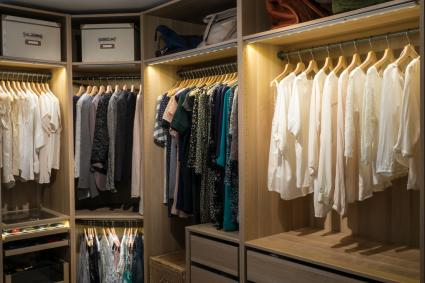 Organized clothing closet