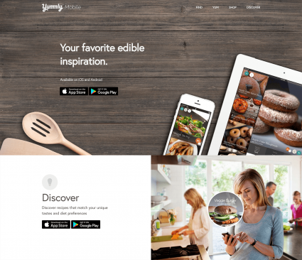 Screenshot of Yummly home page