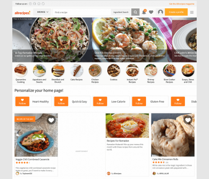 Screenshot of AllRecipes home page