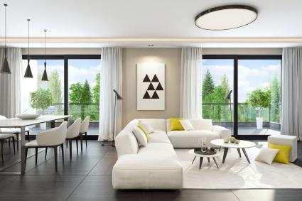 Fresh and modern white style living room with natural stone tiles