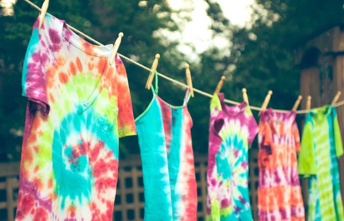 Tie dyed t-shirts drying