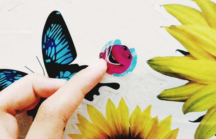 touching stickers stuck on wall