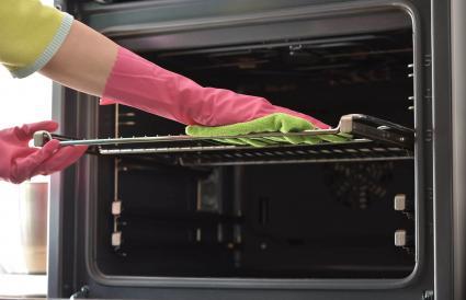 Clean oven in kitchen