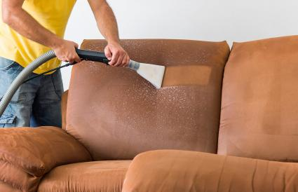 Professional steam cleaning a couch