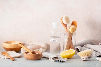 Wooden brushes, lemon, baking soda and cleaning vinegar