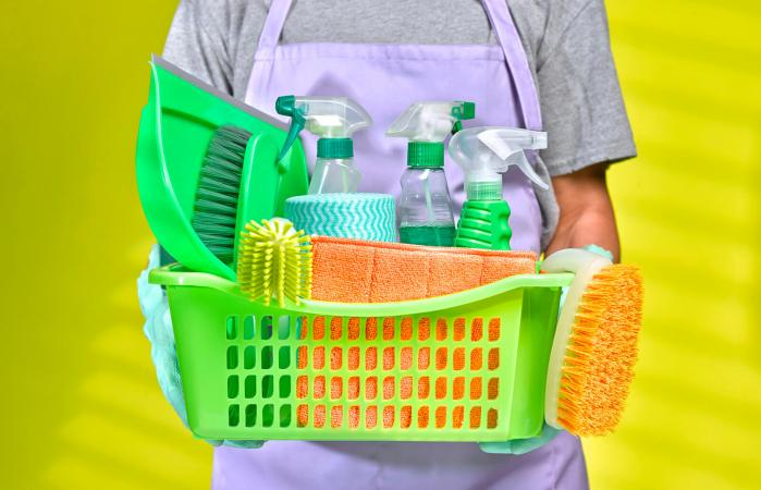 man with natural cleaning products