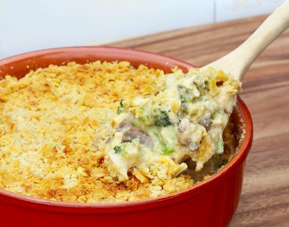 Cazuela de pollo, champiñón, y brócoli