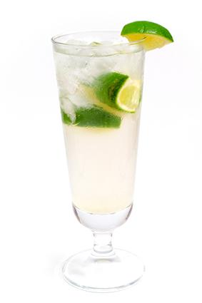 Gin Rickey cocktail with lime wedges and ice