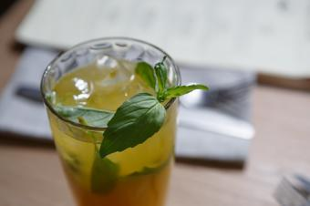 cocktail with basil