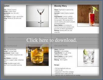 Basic cocktails for bartending printable