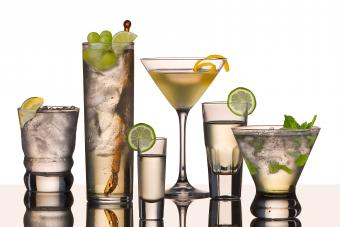 Cocktails with garnishes