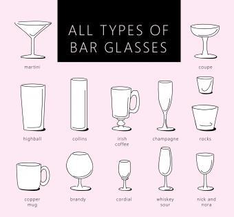 Types of bar glasses illustration
