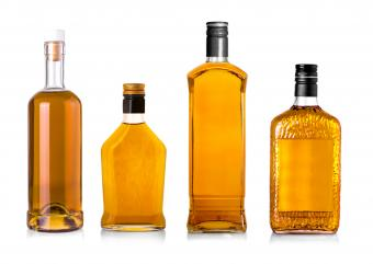 Whiskey bottles without labels