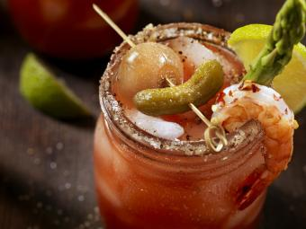 Gourmet bloody Mary with unique garnishes