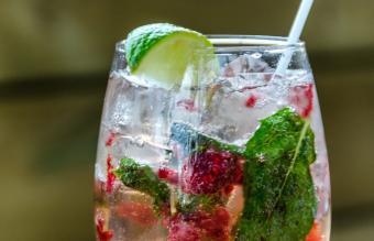 Raspberry Gin Basil Smash